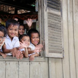 Children at a school in rural Cambodia.