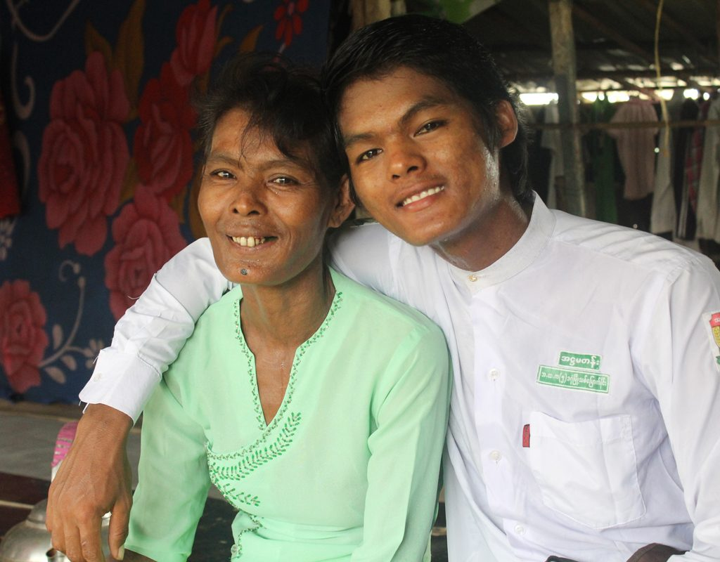 Ko Ko and his mother in Myanmar