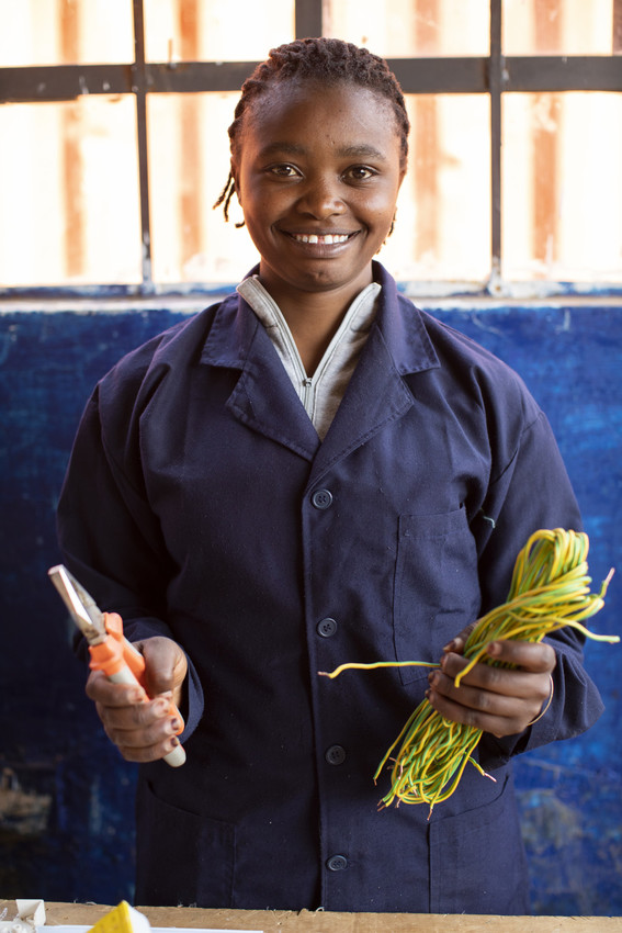 Jane, 22, is training to be an electrician as part of ChildFund's Youth Vocational Skills project in Kiambu County, Kenya.